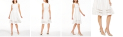 Calvin Klein Illusion-Trim Fit & Flare Midi Dress