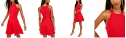 BCX Juniors' Scalloped Scuba Fit & Flare Dress