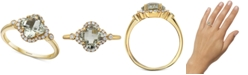 EFFY Collection EFFY® Green Amethyst (1-1/4 ct. t.w.) & Diamond (1/6 ct. t.w.) Statement Ring in 14k Gold