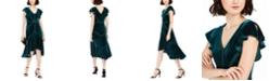 Taylor Velvet Flutter-Sleeve Midi Dress