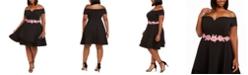 B Darlin Trendy Plus Size Off-The-Shoulder Fit & Flare Dress