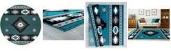 "Asbury Looms Bristol Caliente 2050 10469 88R Turquoise 7'10"" Round Rug"