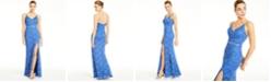 City Studios Juniors' Glitter-Lace Slit Gown