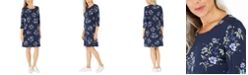 Karen Scott Petite Floral-Print Swing Dress, Created For Macy's