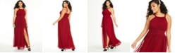 City Studios Trendy Plus Size Ruched Chiffon Slit Gown