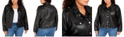 Calvin Klein Plus Size Button-Front Faux-Leather Jacket