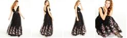 Trixxi Juniors' Embroidered-Hem Sequin Gown