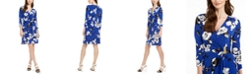 Calvin Klein Floral-Print Faux-Wrap Dress, Created for Macy's