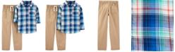 Carter's Little & Big Boys 2-Pc. Cotton Plaid Shirt & Khaki Pants Set