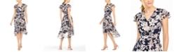 Jessica Howard Flutter-Sleeve Floral Fit & Flare Dress