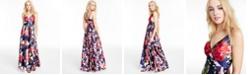 Sequin Hearts Juniors' Floral-Print Faux-Wrap Gown
