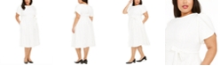 Calvin Klein Plus Size Tulip-Sleeve Belted Fit & Flare Dress