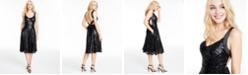 City Studios Juniors' V-Neck Sequined Dress