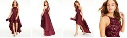 Emerald Sundae Juniors' Lace-Trim High-Low Halter Dress