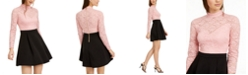 B Darlin Juniors' Mock Neck Lace Top Skater Dress