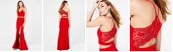 B Darlin Juniors' 2-Pc. Lace-Back Slit Gown