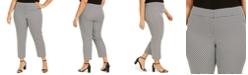 Kasper Plus Size Geometric Slim-Leg Ankle Dress Pants