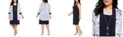 R & M Richards Plus Size Dress & Floral-Print Jacket