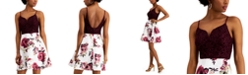 City Studios Juniors' Lace & Floral-Print Fit & Flare Dress
