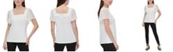 Calvin Klein Flutter-Sleeve Square Neckline Top