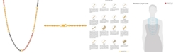 """Macy's Tricolor Beaded Rope Link 18"""" Chain Necklace in 10k Gold, White Gold & Rose Gold"""