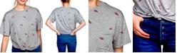 Self Esteem Juniors' Dinosaur-Print Tie-Hem Top