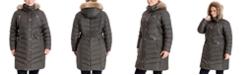 Michael Kors Plus Size Faux-Fur-Trim Hooded Down Puffer Coat