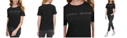 DKNY Jeans Cotton Embellished Logo T-Shirt