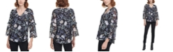 Calvin Klein Printed Sheer-Sleeve Top