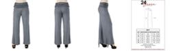 24seven Comfort Apparel Women's Plus Size Fold Over Palazzo Pants