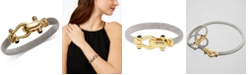 Italian Gold Horseshoe Bangle Bracelet with Black Spinel Accents in Sterling Silver and 14k Gold over Silver