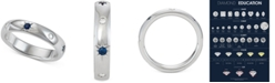 Marchesa Sapphire (1/5 ct. t.w.) & Diamond (1/10 ct. t.w.) Wedding Band in 18k White Gold, Created for Macy's