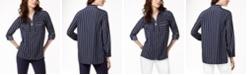 Michael Kors Striped Zip-Front Utility Shirt in Regular & Petitie Sizes