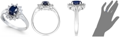 Macy's Sapphire (9/10 ct. t.w.) and Diamond Accent Ring in 10k White Gold
