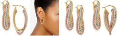 Italian Gold Tricolor Twisted Oval Hoop Earrings in 14k Gold, White Gold & Rose gold
