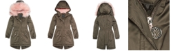 1ce8350c5 DKNY Big Girls Hooded Long Anorak with Faux-Fur Trim & Reviews ...