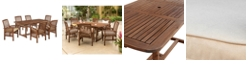 Walker Edison 7-Piece Acacia Wood Outdoor Patio Dining Set with Cushions - Dark Brown
