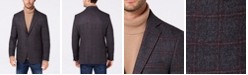 Michael Kors Men's Classic/Regular Fit Gray/Wine Windowpane Wool Sport Coat