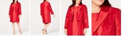 Le Suit Plus Size Shiny Flyaway Jacket & Dress Suit