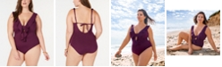 Becca ETC Plus Size Color Code Ruffled One-Piece Swimsuit
