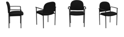 Flash Furniture Comfort Black Fabric Stackable Steel Side Reception Chair With Arms