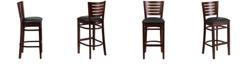 Flash Furniture Darby Series Slat Back Walnut Wood Restaurant Barstool - Black Vinyl Seat