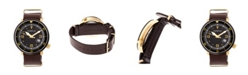 Morphic M58 Series, Gold Case, Dark Brown Nato Leather Band Watch w/ Date, 42mm