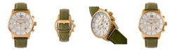 Morphic M67 Series, Gold Case, Chronograph Olive Leather Band Watch w/Date, 44mm
