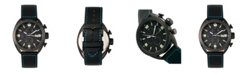 Morphic M64 Series, Black Case, Chronograph Blue Piped Black Leather Band Watch w/ Date, 48mm