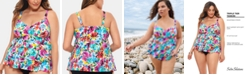 Swim Solutions Plus Size Tiered Tankini Top, Created For Macy's