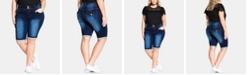 City Chic Trendy Plus Size Killer Pins Denim Shorts
