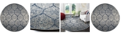 """Safavieh Madison Navy and Silver 6'7"""" x 6'7"""" Round Area Rug"""