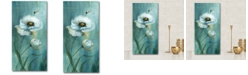 """Courtside Market Teal Flower Gallery-Wrapped Canvas Wall Art - 12"""" x 24"""""""