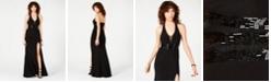 B Darlin Juniors' Beaded-Waist Halter Gown